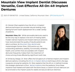 Donian Shen, DDS, discusses All-on-4 and All-on-6 implant denture techniques offered at Smile By Design in Mountain View.
